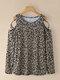 Leopard Print Tie Dye Off-shoulder Long Sleeve Women T-shirt - Brown