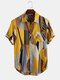 Mens Multi Colorblock Chest Pocket Casual Short Sleeve Shirts - Yellow