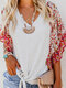 Bohemian Print Patch Drawstring V Neck Blouse