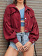 Solid Color Long Sleeves Casual Corduroy Short Coats with Pockets - Wine Red