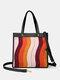 महिलाओं ने स्ट्राइप्ड पैचवर्क पैटर्न प्रिंट हैंडबैग कंधे बैग - काली