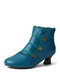 Women Large Size Casual Lace Studded Elegant Cone Heel Short Boots - Blue