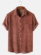 Mens Corduroy Solid Color Breathable Casual Short Sleeve Shirts - Red