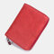 Women Genuine Leather RIFD Multifunctional Multi-card Slots Money Clip Wallet Purse Coin Purse - Red