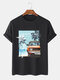 Mens Tropical Landscape Graphic Holiday Short Sleeve 100% Cotton T-Shirts - Black
