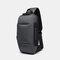 Men Anti-theft USB Charging Multi-Layers Waterproof Crossbody Bag Chest Bag Sling Bag - Dark Grey