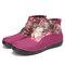 SOCOFY Retro Pattern Cloth Splicing Metal Buckle Zipper Soft Flat Boots - Purple