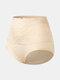 Plus Size Women Floral Lace Solid Color Cozy High Waist Panties - Nude