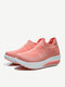 Women Knitted Fabric Comfy Breathable Casual Slip On Fashion Rocker Sole Casaul Sock Sneakers - Orange Pink