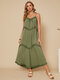 Fungus Patchwork Knotted V-neck Spaghetti Strap Knitted Casual Dress - Green
