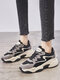 Women Casual Warm Lining Sports Style Chunky Sneaker Shoes - Dark Gray