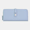 Women 10 Card Slots Zipper Long Wallet Purse - Blue