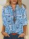 Chemise décontractée à manches longues à imprimé abstrait graffiti pour femme - bleu
