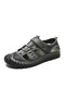 Menico Men Casual Hook Loop Closed Toe Hand Stitching Leather Sandals - Gray