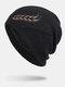 男性冬Plusベルベット刺繡小麦の耳屋外ジャカードロングニット暖かいビーニー帽子 - 黒