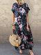 Vintage Flowers Print Plus Size Maxi Dress - Navy