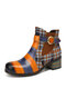 SOCOFY Retro Color Block Comfy Round Toe Leather Check Cloth Splicing Wearable Chunky Heel Short Boots - Coffee