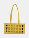 Mujer 2PCS Hollow Out Solid Satchel Shoulder Bolsa - Amarillo