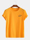 Mens Cotton Planet Print Round Neck Casual Short Sleeve T-Shirts - Yellow