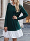 Contrast Color Patchwork Ruffle Long Sleeve Casual Dress for Women - Dark green