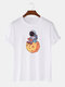 Mens 100% Cotton Astronaut Graphic Casual O-Neck Short Sleeve T-shirts - White