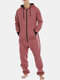 Men Cotton Solid Color Loose Onesies Zipper Hooded Jumpsuit With Kangaroo Pockets - Red