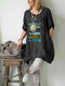 Cartoon Fishes Embroidery Loose Plus Size Blouse - Dark Grey