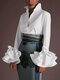 Fashion Flower Sleeve Solid Color Plus Size Casual Shirt - White