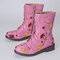 LOSTISY Women Flowers Embroidered Zipper Mid Calf Chunky Heel Knight Boots - Light Rose Red