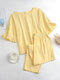Solid Color Ruffle O-Neck Suit Women Casual Set - Yellow