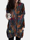 Vintage Printed Long Sleeve V-neck Casual Blouse For Women - Coffee