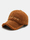 Women Letter Embroidery Pattern Contrast Color Warm Fashion Personality Sunvisor Baseball Hat - Brown
