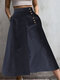 Striped Print Button Culottes For Women - Navy