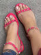 Large Size Casual Suede Rivet Ankle Strap Stripe Flat Sandals For Women - Rose