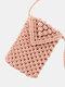 Women Straw Solid Flap Phone Bag Crossbody Bag - Pink