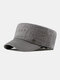 Men Cotton Linen Solid Color Label Stitching Outdoor Sunshade Casual Military Cap Flat Cap - Gray