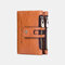 Women Genuine Leather Double Zipper Casual Fashion Solid Color Multi-slot Card Holder Wallet - Brown