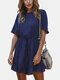 Solid Color Ruffled Short Sleeves Casual Jumpsuit For Women - Navy