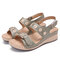 LOSTISY Comfort Stitching Double Hook Loop Lightweight Wedges Sandals - Green