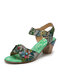 SOCOFY Retro Bubble Floral Printed Genuine Leather Comfy Wearable Hook Loop Casual Chunky Heels Sandals - Green