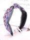 Vintage Ethnic Argyle Pattern Tie Lace Cloth Headband - Blue