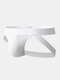 Mens Contrast Color Cotton Thin Elastic Waistband Low Waist Sexy Thongs - White