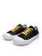 Women Round Toe Classic Casual Lace Up Canvas Court Sneaker Shoes - Black & Yellow