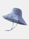 Women Cotton And Linen Solid Color Big Brim Sun Protection Bucket Hat - Sky Blue