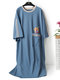 Plus Size Nightgowns Cotton Animal Print Long Loose Casual Pajamas