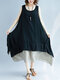 Color Contrast Patched Plus Size Layered Tank Top Dress - Black