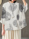 Casual Printed Pockets O-neck Long Sleeve Cotton Blouse - White