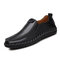 Men Hand Stitching Sfot Leather Non Slip Sole Comfy Slip-on Casual Driving Shoes - Black