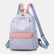 Women Oxford Waterproof Anti-theft Patchwork Casual Backpack - Blue
