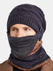 Men 3PCS Plus Velvet Thick Warm Winter Suits Neck Face Protection Knitted Hat Scarf Mask - Navy